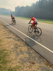 Cycling section of triathlon training