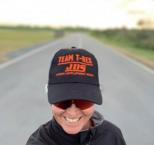 Theresa wearing a Team T-Rex JDS Junior Development Squad Hat